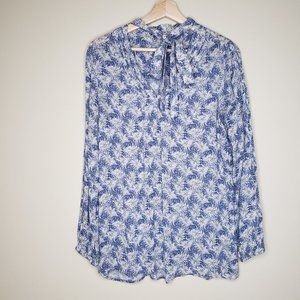 Lucky Brand Feather Print Neck Tie Top Small